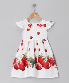 http://www.zulily.com/invite/vhanson979 Take a look at this White Strawberry Dress - Toddler & Girls by Di Vani on #zulily today!