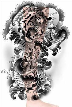 Japanese Snake Tattoo, Japanese Flower Tattoo, Japanese Sleeve Tattoos, Traditional Japanese Tattoo Designs, Traditional Tattoo Design, Japan Tattoo Design, Tiger Tattoo Design, Tiger Tattoo Sleeve, Full Sleeve Tattoo Design