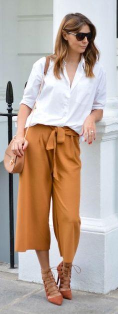 E J Style Tan Culottes