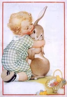 Free freebie printable retro Easter postcard child hugging bunny rabbit