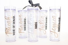 Personalized Bridal Party Tumbler Cups, Bridesmaid Gift idea, Made of Honor, Bride, Wedding Party gifts, Personalized Gift, Custom cups by DezCustomCreations on Etsy