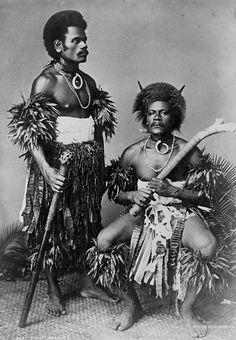 Two Fijian warriors, photograph by Burton Brothers, 1884 Fiji People, Afro, Fiji Culture, Polynesian Art, Polynesian Designs, Afrique Art, Black Indians, Black History Facts, African Diaspora