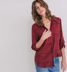 Koszula damska czerwona kratka - Promod