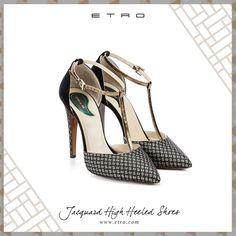 Modern Monochrome: the jacquard high heeled shoes. #blackandwhite #shoes #etro