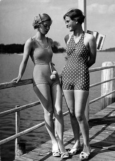 Why can't we still have bathing suits like these? vintage swimsuits.  Looks much nicer than your entire backside being exposed!