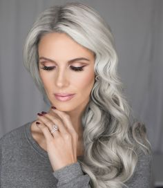 Bridal makeup, by Vivian Makeup Artist. Also, silver hair/ gray hair? Totally trendy right now.