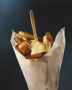 French Fries by Dutch artist Tjalf Sparnaay, oil on canvas. Tjalf Sparnaay, Belgian Food, Belgian Cuisine, Illustration Arte, Tableaux Vivants, Hyper Realistic Paintings, Food Painting, Still Life Art, Realism Art