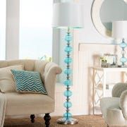 This mod, one-of-a-kind piece is also a lamp. Sounds confusing, but makes beautiful sense when you see for yourself. Blue Floor Lamps, Glass Floor Lamp, Traditional Floor Lamps, Apartment Guide, Aqua Glass, Contemporary Floor Lamps, Building Furniture, Bedroom Themes, Lamp Design