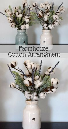 Rustic farmhouse cotton stem arrangement in a rustic ceramic vase, in your choice of distressed cream or pale blue. Filled with charming cotton boll stems, romantic greenery and beautiful faux lavender. Vases have a glossy, distressed crackle finish and a shape reminiscent of a large milk jug.  A touch of brown natural moss adds the perfect finishing touch. #farmhousedecor #ad #cottonboll #cotton #arrangement #rustic