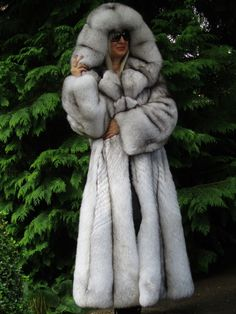 NEW FOX FUR COAT SAGA PLATINUM SHADOW LONG SWING WITH HOOD BLAUFUCHS XXL RRP 22k | eBay