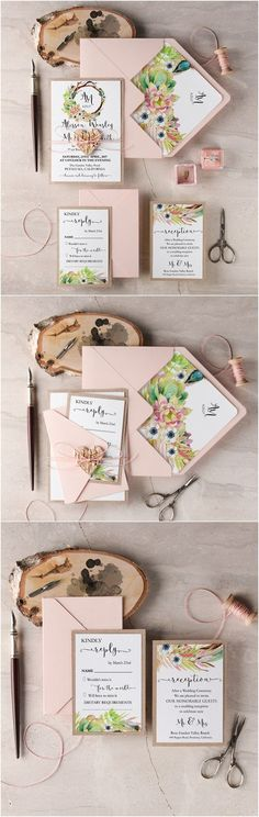 Rustic blush Pink wedding invitations @4LOVEPolkaDots