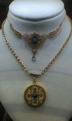 Alana antique jewelry in Seattle ~ really like the top necklace/choker really would be pretty in white gold instead of yellow.