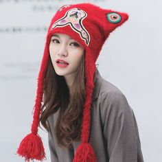 Cosplay tiger knit hat with ear flaps for women Embroidered winter hats df586bc3c86