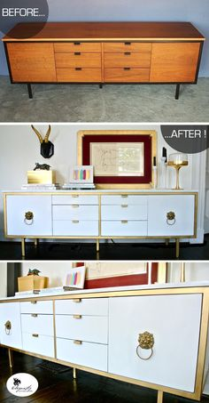 Gold and white credenza. Knobs that look like Anne Klein 1980s lion earrings