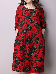 Sale 13% (29.89$) - Vintage Ethnic Long Sleeve O-Neck Floral Printed Loose Women Dresses