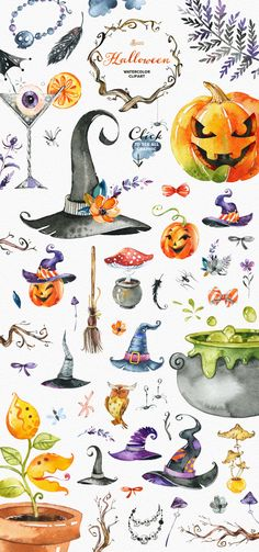 Watercolor Collection by OctopusArtis on Creative. Watercolor Collection by OctopusArtis on Creative Market Halloween. Watercolor Collection by OctopusArtis on Creative Market - Halloween Illustration, Fete Halloween, Holidays Halloween, Halloween Crafts, Easy Halloween Drawings, Happy Halloween, Halloween Doodle, Halloween Clipart, Halloween 2019