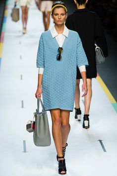 Fendi Sprin 2013 Love the blue !! Sweater dress with white shirt under is cool
