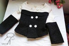 兰舟作品-撞色拼接呢料小外套 附裁剪图 教程 Lanzhou works - hit color stitching woolen jacket attached cropped Drawing Tutorials