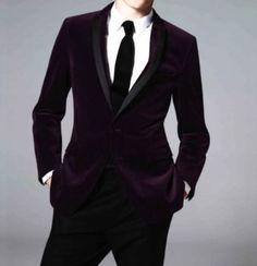 Men Designer Handmade Formal Coat Purple Velvet Blazer Custom Made Tuxedo Jacket #Handmade #OneButton