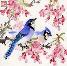 """Dancing in Wonderland"" - Original Fine Art for Sale - © Jinghua Gao Dalia Japanese Painting, Chinese Painting, Chinese Art, Japanese Art, Chinese Brush, Gravure Photo, Asian Artwork, Art Chinois, Chinese Flowers"
