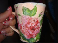 DECOUPAGE  (the link is in a differnt language but I get the drift from the picture.) She also did a tea pot.  Excellent idea for my club.