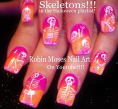 10 Nail Art Tutorials   DIY Easy Halloween Nail Designs   Neon Skeletons!!!