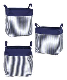 sewing inspiration-Blue Stripe Collapsible Container