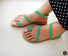Sandals  Genuine Greek Style Leather Sandals in Mint  by Sandelles, €29.00
