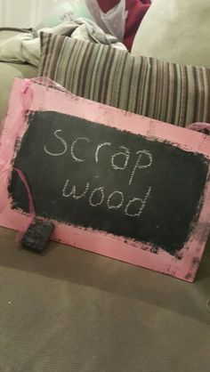 Scrap wood, chalk paint and chalkboard paint. Comes with a piece of chalk and eraser.
