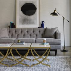 ON SALE NOW Haviland Antique Gold Side Table | The gracefully curved legs are a nod to French Deco, but the rich materials have a timeless appeal. Use it as a stand-alone accent or pair it with one-or two-more in lieu of a larger piece.