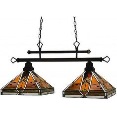 Table Lights and Lamps 75189: 35 2 Light Island Bar Billiard Pool Table Pendant Stained Glass Hanging Lamp -> BUY IT NOW ONLY: $1074.97 on eBay!