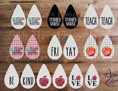 Teacher Teardrop Earring Sublimation Template, Aparecium Design Co, Ashley Dodd Diy Leather Earrings, Wood Earrings, Diy Earrings, Teardrop Earrings, Monogram Earrings, Button Earrings, Custom Jewelry, Diy Jewelry, Jewelry Making