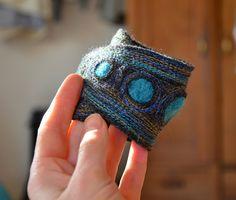felt wrist cuff bracelet unique blue embroidery by ZOJKAshop, $19.00