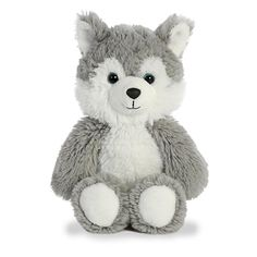 Cuddly friends from Aurora world feature all of your favorite animals designed with arms and legs perfect for cuddling! this Husky comes with soft Grey fur Wolf Stuffed Animal, Bright Blue Eyes, A Husky, Grey Dog, Raining Cats And Dogs, Build A Bear, Animal Design, Girl Gifts, Snuggles