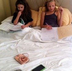 This is the cutest thing ever!!! Mackenzie Ziegler and Paige Hyland doing homework together and eating chips.
