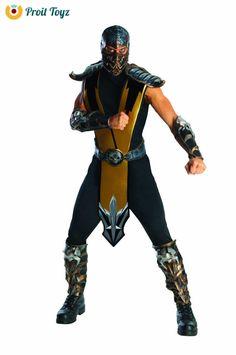 Adult Mortal Kombat Scorpion Halloween Cosplay Video Game Costum  Gold  One Size #Rubies #mens