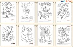 Làmines d'instruments per pintar Baby Piano, Instruments, Preschool Colors, Music Worksheets, Music And Movement, Oboe, Elementary Music, Music Classroom, Teaching Music