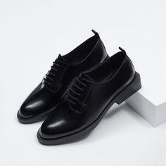 ZARA的图片 7 名称 方跟平底皮鞋