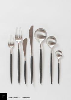 Sleek and luxurious brushed steel & black flatware. Salad/Dessert Fork Dinner Fork Butter Knife Dinner Knife Dinner Spoon Tea Spoon Demitasse Spoon