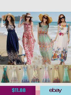 d8d56783425 New Women Bohemian Maxi Evening Party Dress Chiffon Dress Summer Beach  Dresses