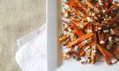 SWEET POTATO FRIES WITH WALNUTS, BLUE CHEESE & BALSAMIC GLAZE