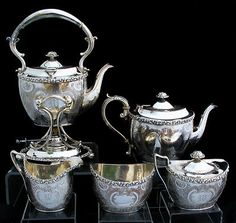 Barker Ellis 5pc Silverplate with Sterling Mounts Coffee Tea Set | eBay