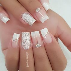Nail art Christmas - the festive spirit on the nails. Over 70 creative ideas and tutorials - My Nails Cute Acrylic Nails, Acrylic Nail Designs, Cute Nails, Nail Art Designs, Wedding Nails For Bride, Bride Nails, Wedding Nails Design, Nails For Brides, French Manicure Nails