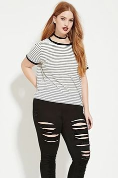 Plus Size Striped Tee | Forever 21 PLUS #forever21plus