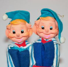 Two Cute Vintage Knee Hugger Christmas Elves  Rare by retrokitsch