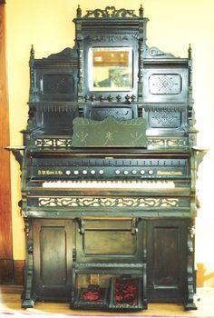 Karn High Back Victorian Parlor Organ - Burl Walnut Cabinet   c.1883
