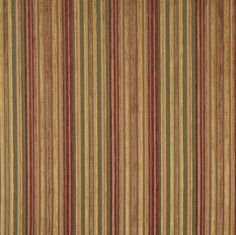 Beige or Tan or Taupe and Coral or Orange or Persimmon and Gold or Yellow and Light Geen color Stripe pattern Chenille type Upholstery Fabric called K7404 GARDEN by KOVI Fabrics