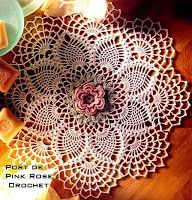 \ PINK ROSE CROCHET /: Centrinho Crochet Single Rose