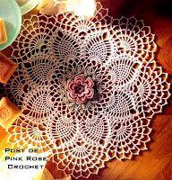 \ PINK ROSE CROCHET /: Centrinho Crochet Single Rose