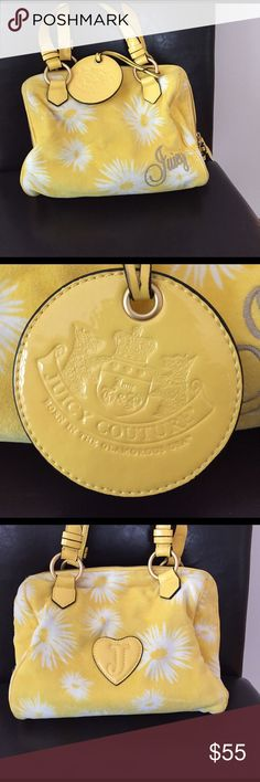 Juicy Couture Purse White and yellow flower designed Juicy purse. Some scuffs on piping. Cute pockets on the inside--perfect for spring! Also selling matching wallet! Juicy Couture Bags Shoulder Bags
